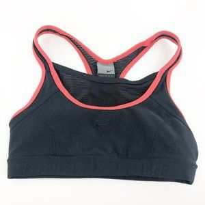 NIKE SMALL SPORTS BRA BLACK AND CORAL